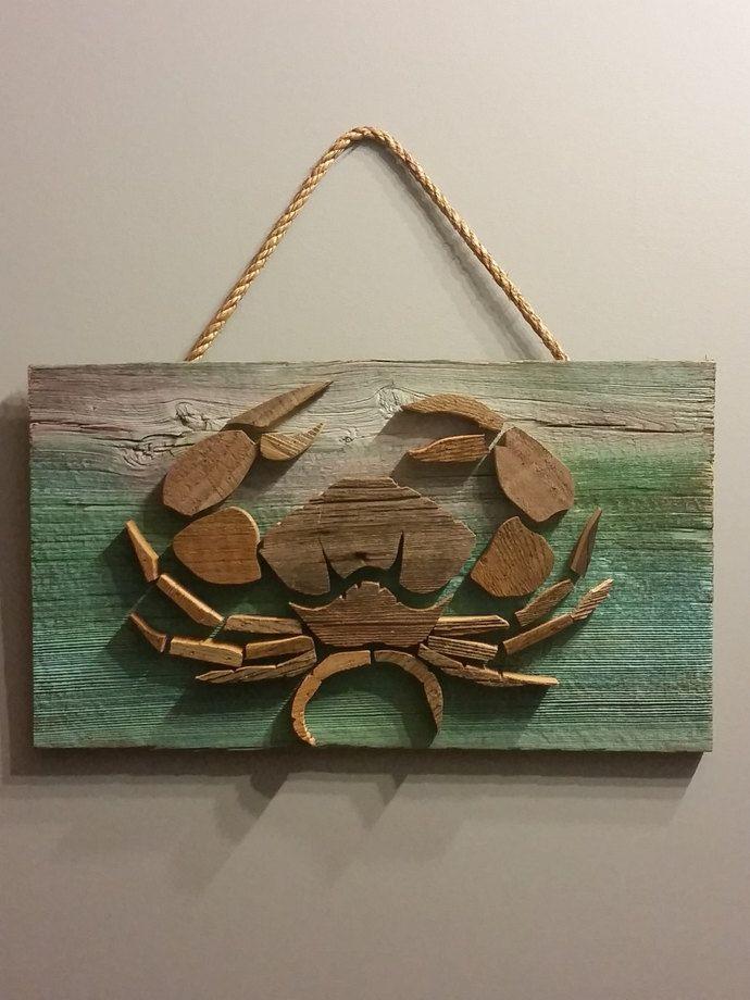 Sea Life Nautical Barn Wood Wall Decor Ocean Acquatic Fish Crab ...