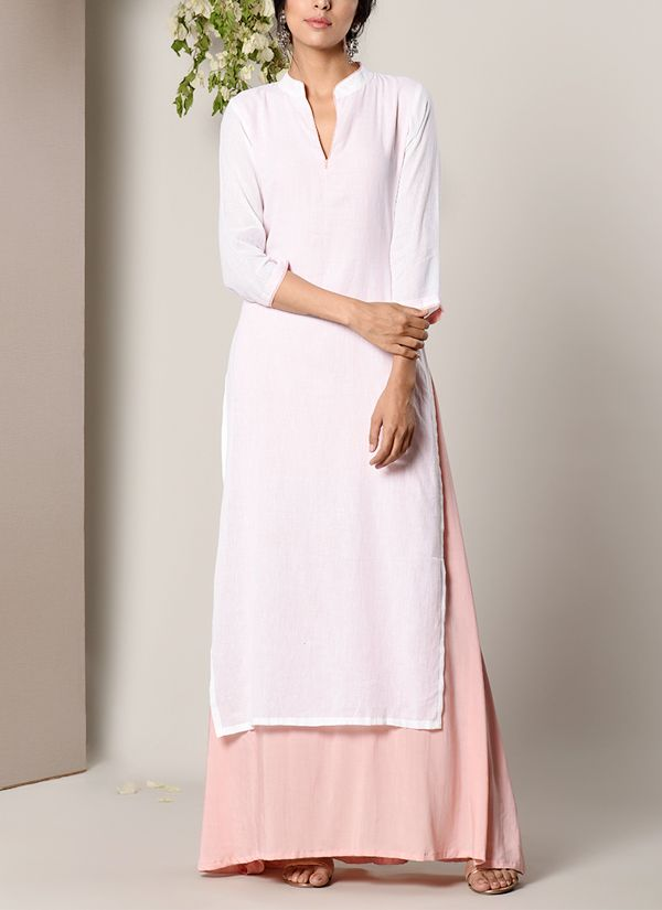 2552b5bf079 trueBrowns | White Kurta Mud Pink Flare Dress | Shop Dresses at  strandofsilk.com