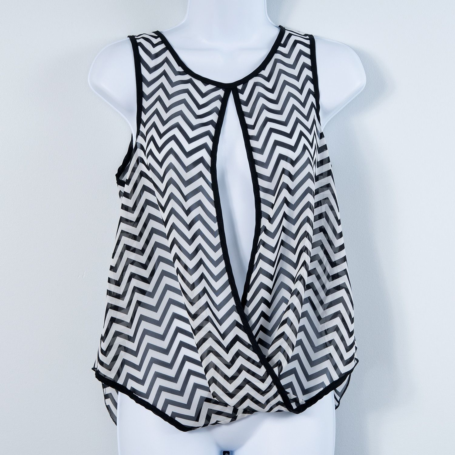 L8ter Sheer Chevron Top