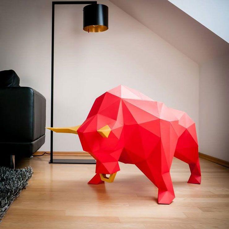 Papertrophy modernos trofeos de animales de papel for Trofeos caza decoracion