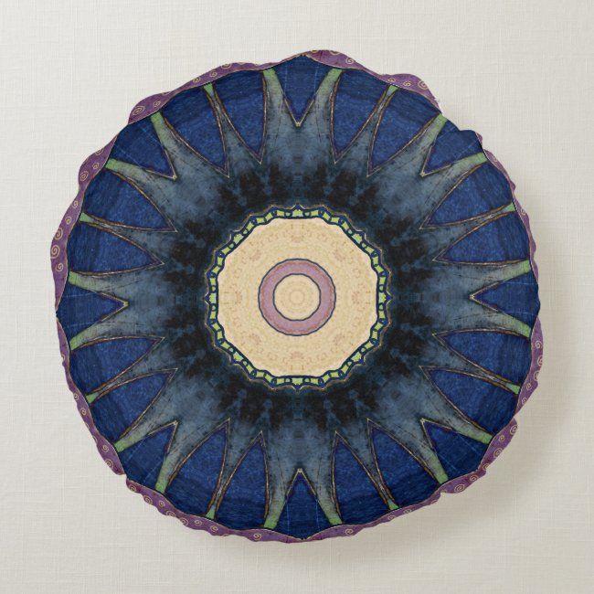Colorful, Retro, Mandala-Inspired Round Pillow