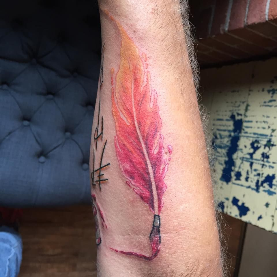 Watercolor Feather Paintbrush Inspirational Tattoos Paintbrush
