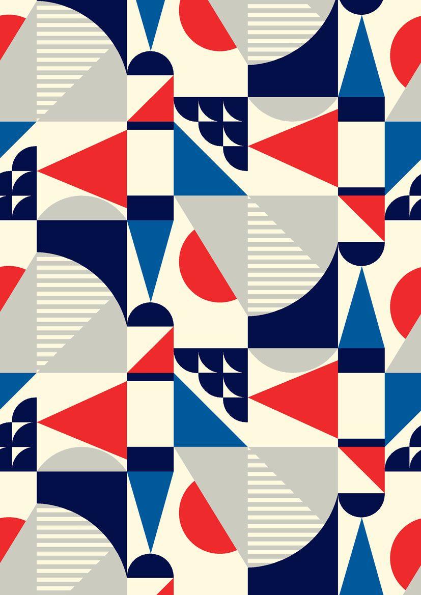 Minakani Geometric Shapes Retro Square Stripe Geometric