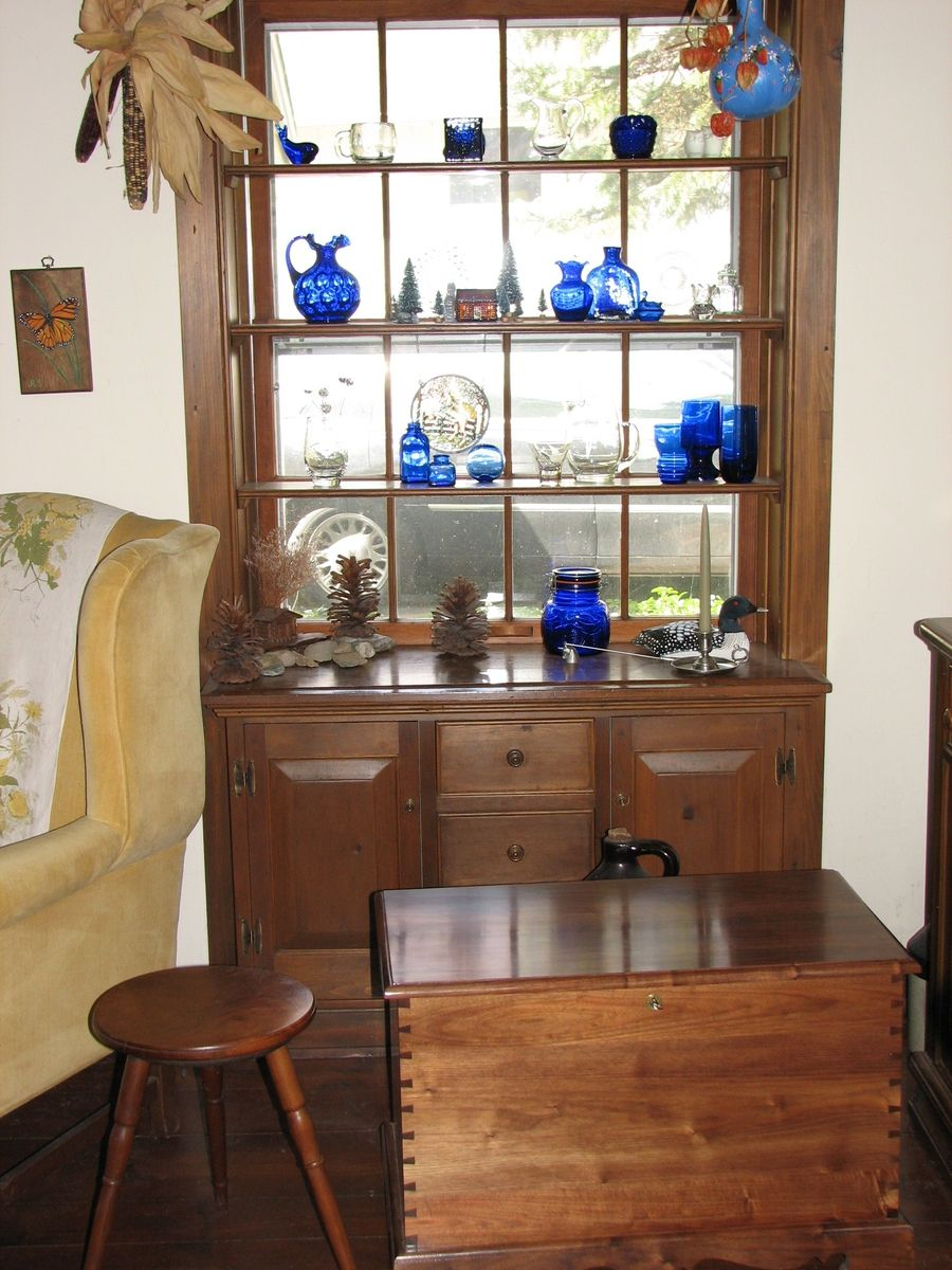 Walnut Stool and Handmade Chest, Built-In Window Cabinet