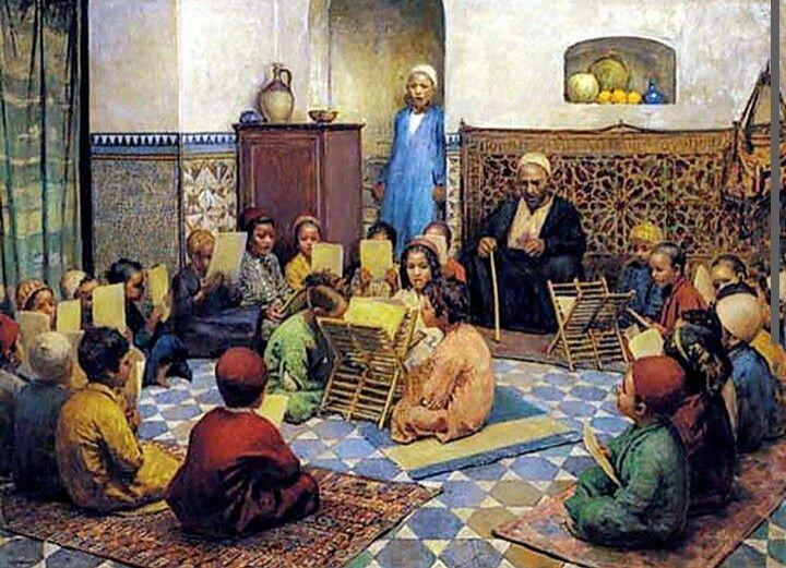 The Qur'an Lesson by Johan Voctor Kamer  ( 1861 - 1909 )