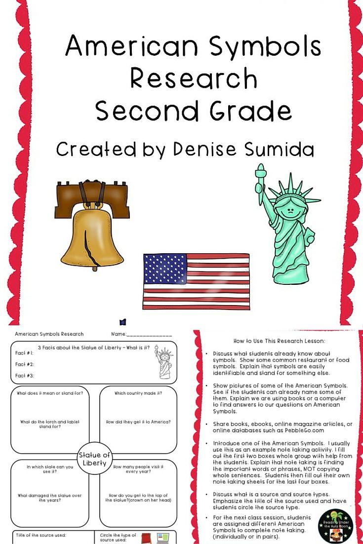 Second Grade American Symbols Research Print Version American Symbols First Grade Worksheets Lesson