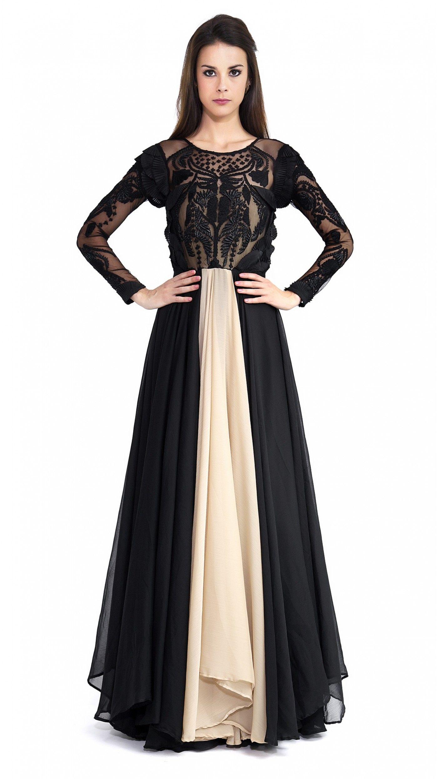 Black Handwork Gown
