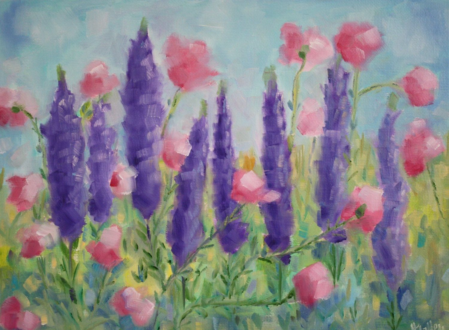 Original Oil Painting Wildflowers Lavender Floral Garden Painting Field Flowers Pink Green Purple F Original Oil Painting Oil Painting Original Oil
