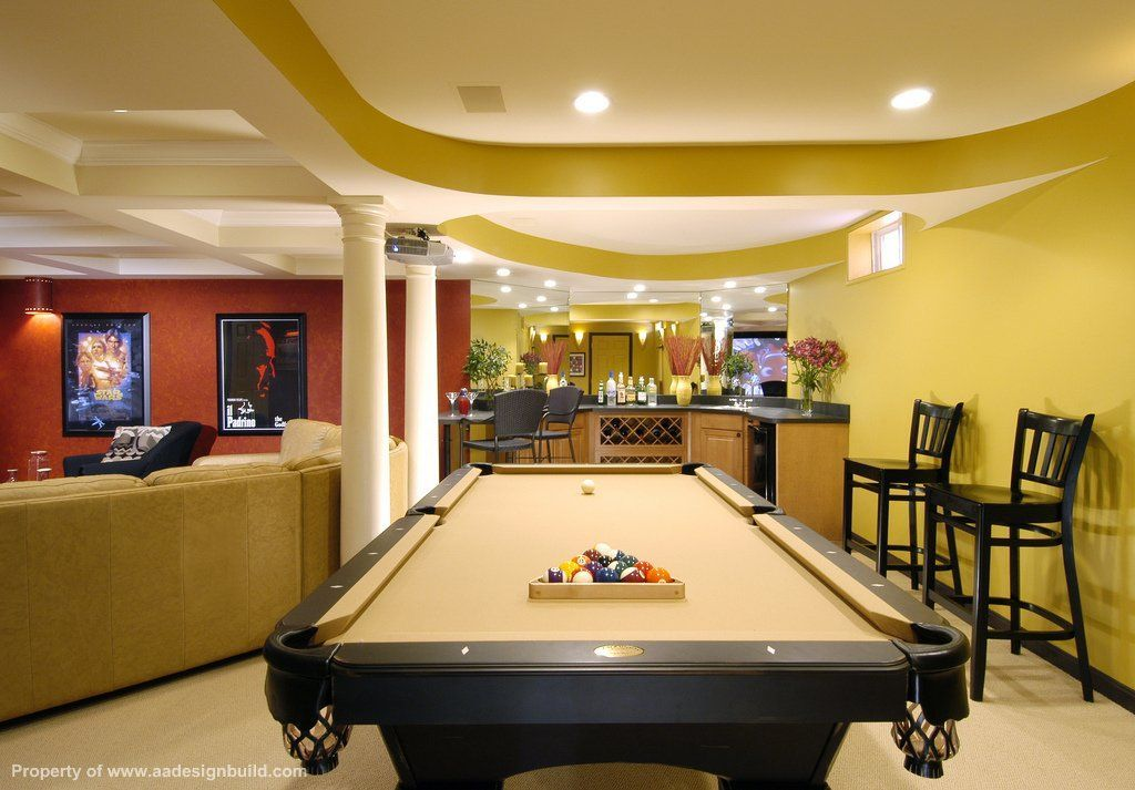 Billiards room section of large man cave