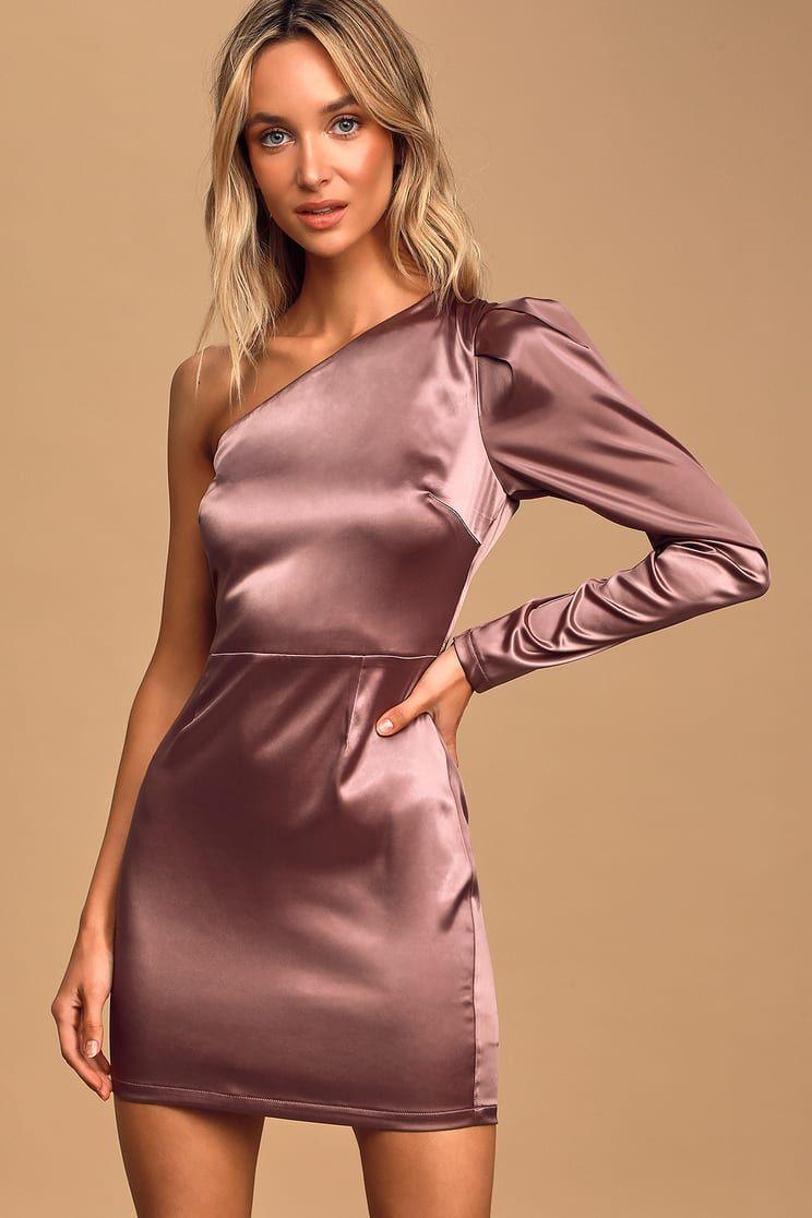 Indulge me dusty purple satin oneshoulder bodycon dress