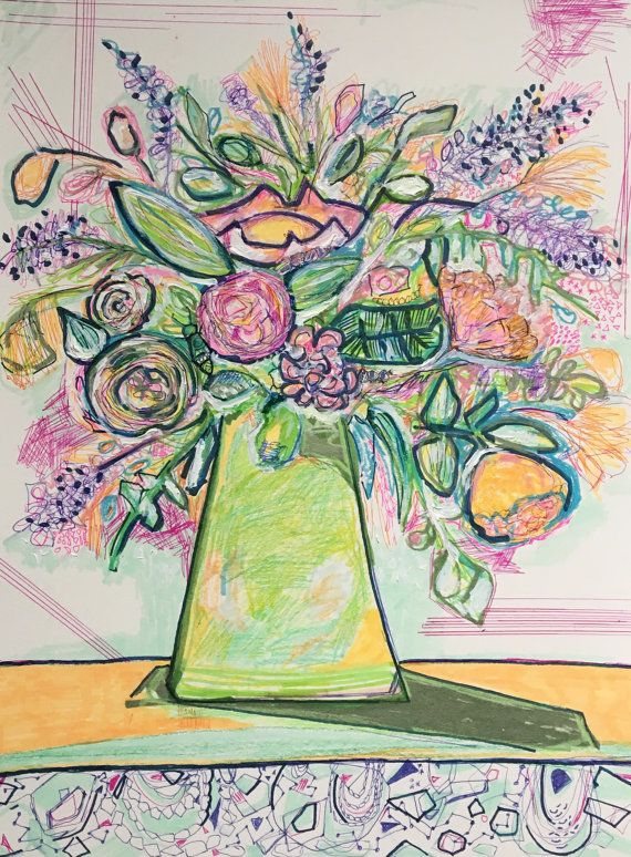 Bold Expressive Flower Drawing Abstract Floral Funky