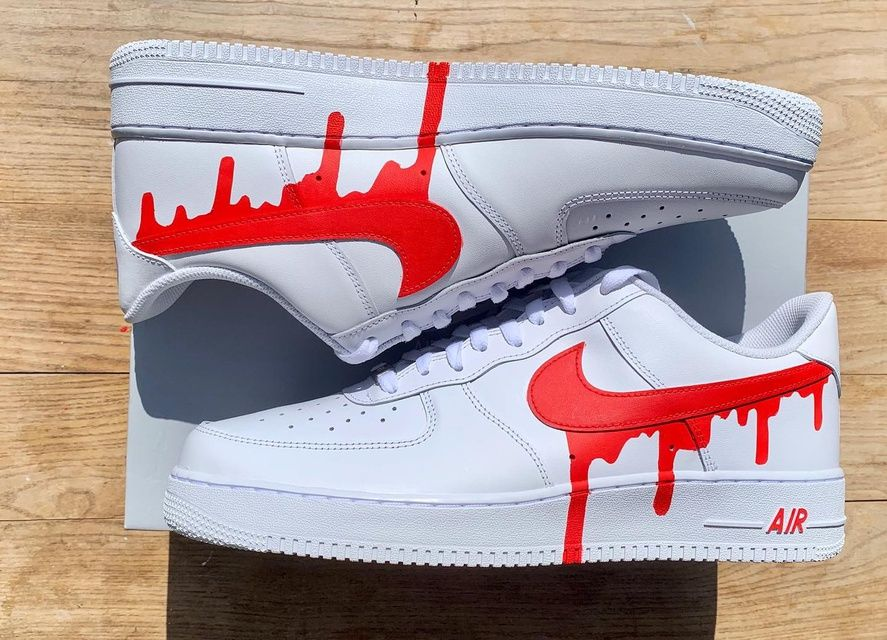 Red drip Nike Air Force 1 in 2020 (With images) Hype
