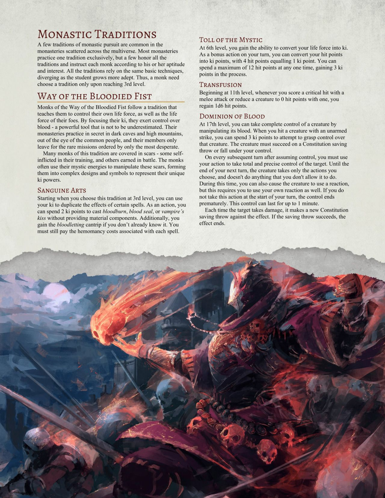 DnD 5e Homebrew — Way of the Bloodied Fist Monk by Jonoman3000 | D&D