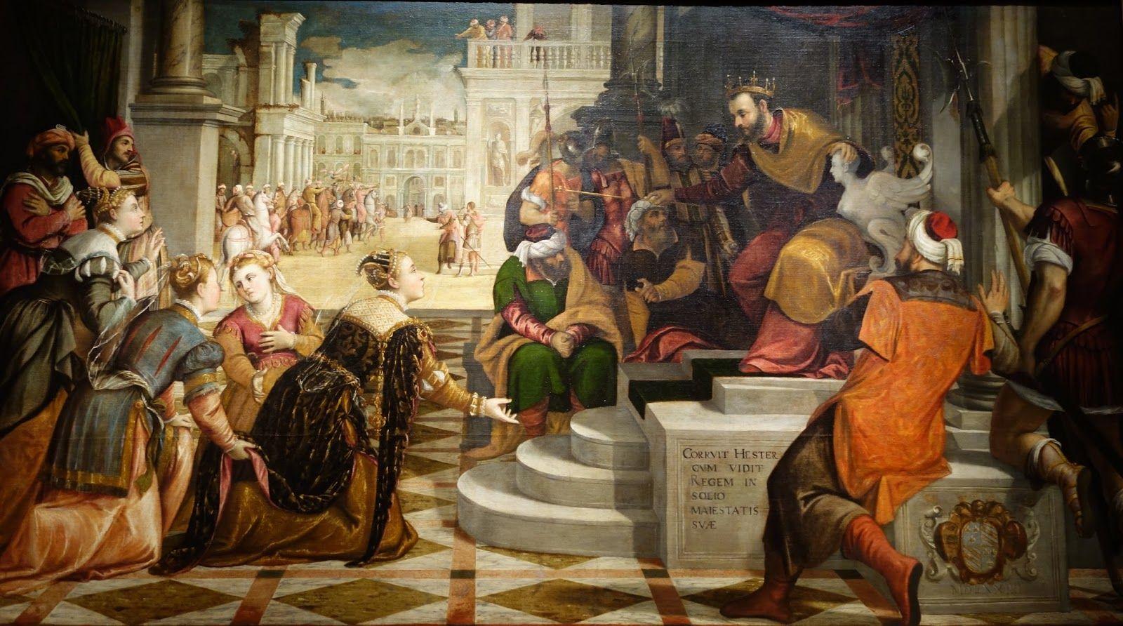 ESTHER DENOUNCING HAMAN OLD TESTAMENT PURIM PAINTING BIBLE ART REAL CANVAS PRINT