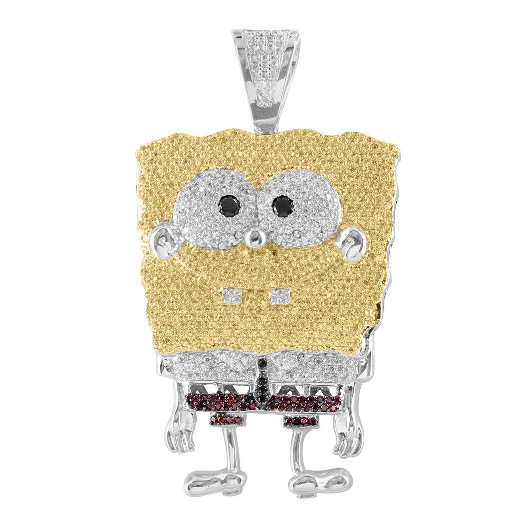 44c08f54673e1 Spongebob Square Pants Lab Diamond White Gold Finish Pendant ...
