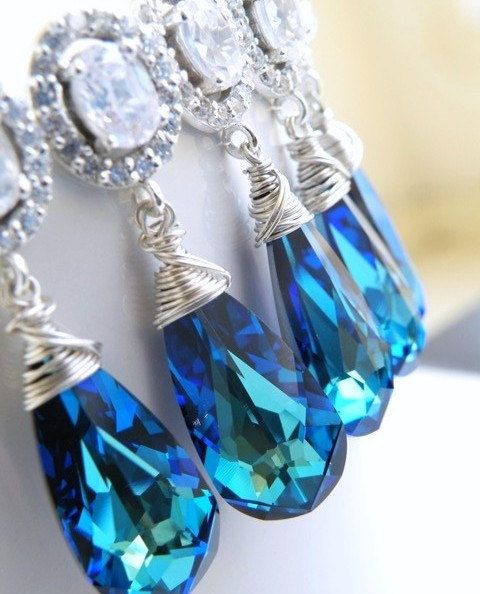 Weddings Jewelry Earrings bridal bridesmaid my something blue
