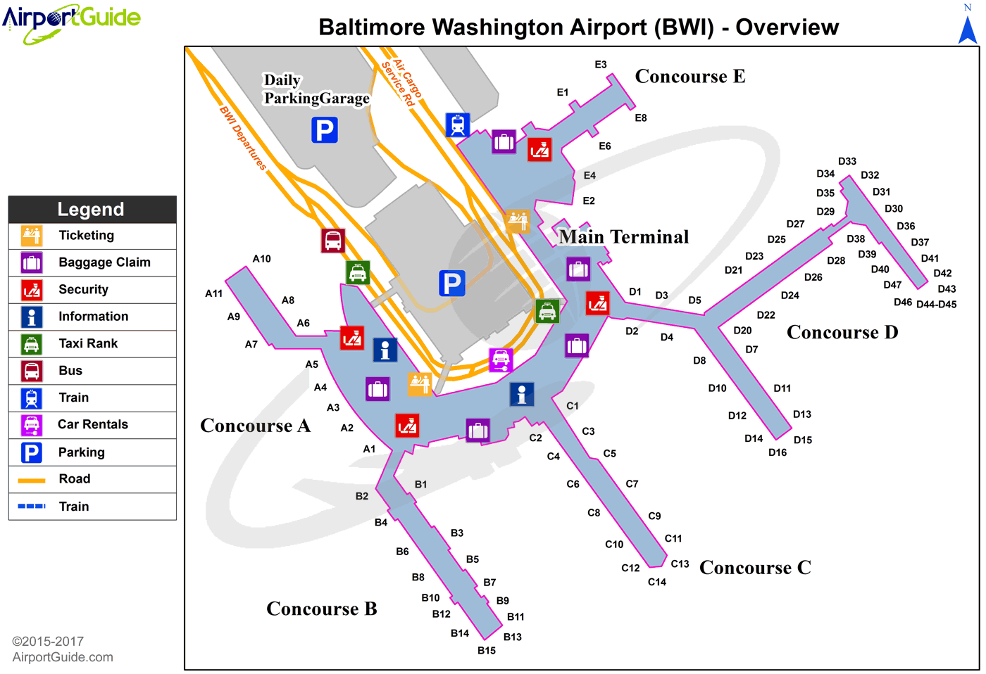 baltimore international airport terminal map Baltimore Baltimore Washington International Thurgood Marshall baltimore international airport terminal map