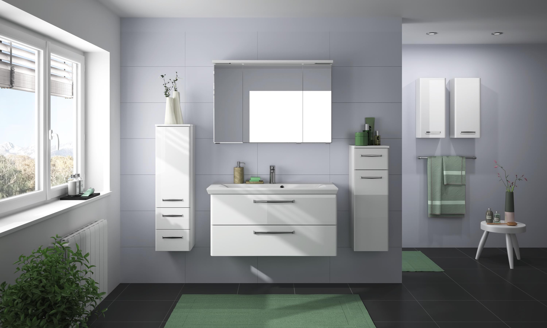 Badezimmer In Weiss Graphitfarben Mit Integrierter Spiegelbeleuchtung Spiegel Mit Beleuchtung Badezimmerausstattung Badezimmer