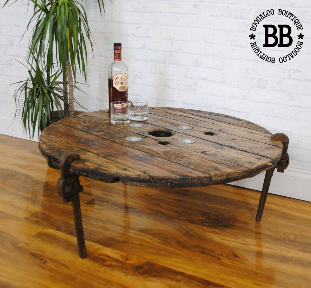 How to make a sofa table from cable wood reel - Wrench Legs Upcycled Reclaimed Industrial Cable Reel Pallet Coffee Table