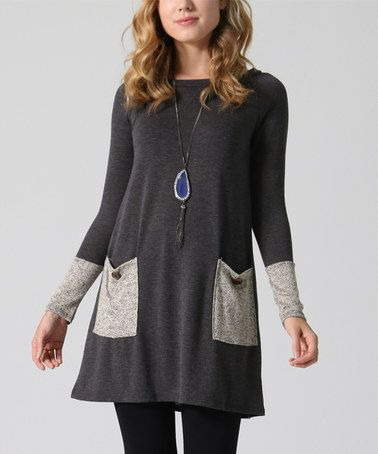 Look at this #zulilyfind! Charcoal & Gray Pocket Sweater Tunic ...