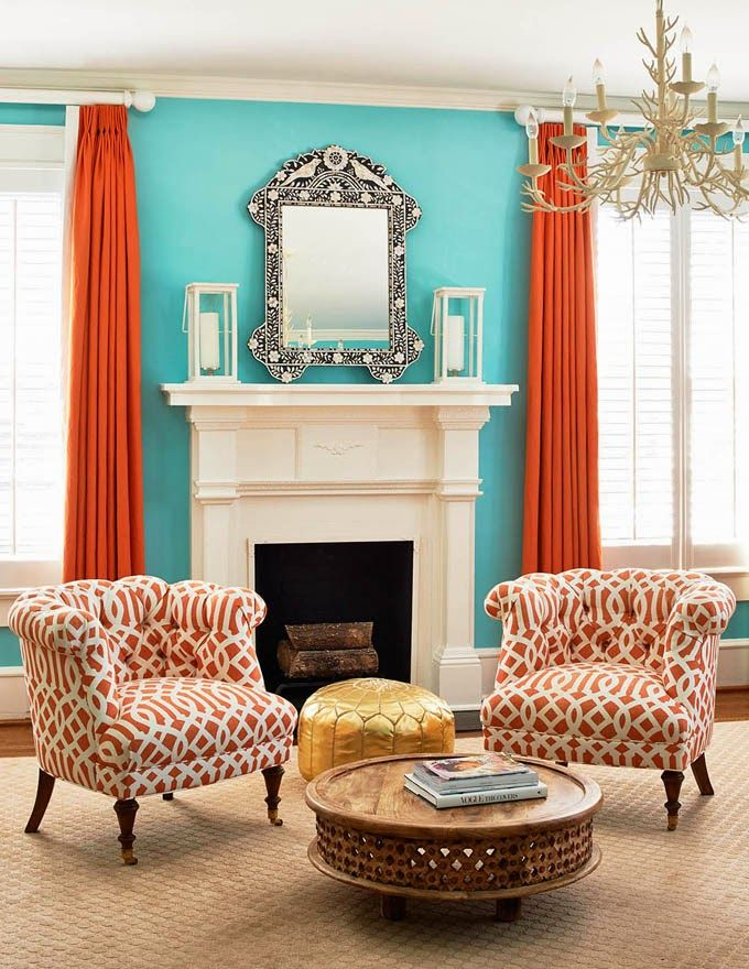 Most Helpful Home Renovation Blogs  Orange Design Colorful Gorgeous Turquoise Living Room Design Decoration