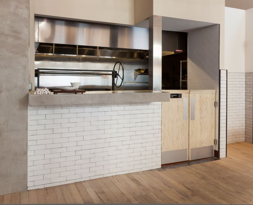 Restaurant Kitchen Wall Tile finished in a white snow glaze, our 2x8 thin brick tile frames a