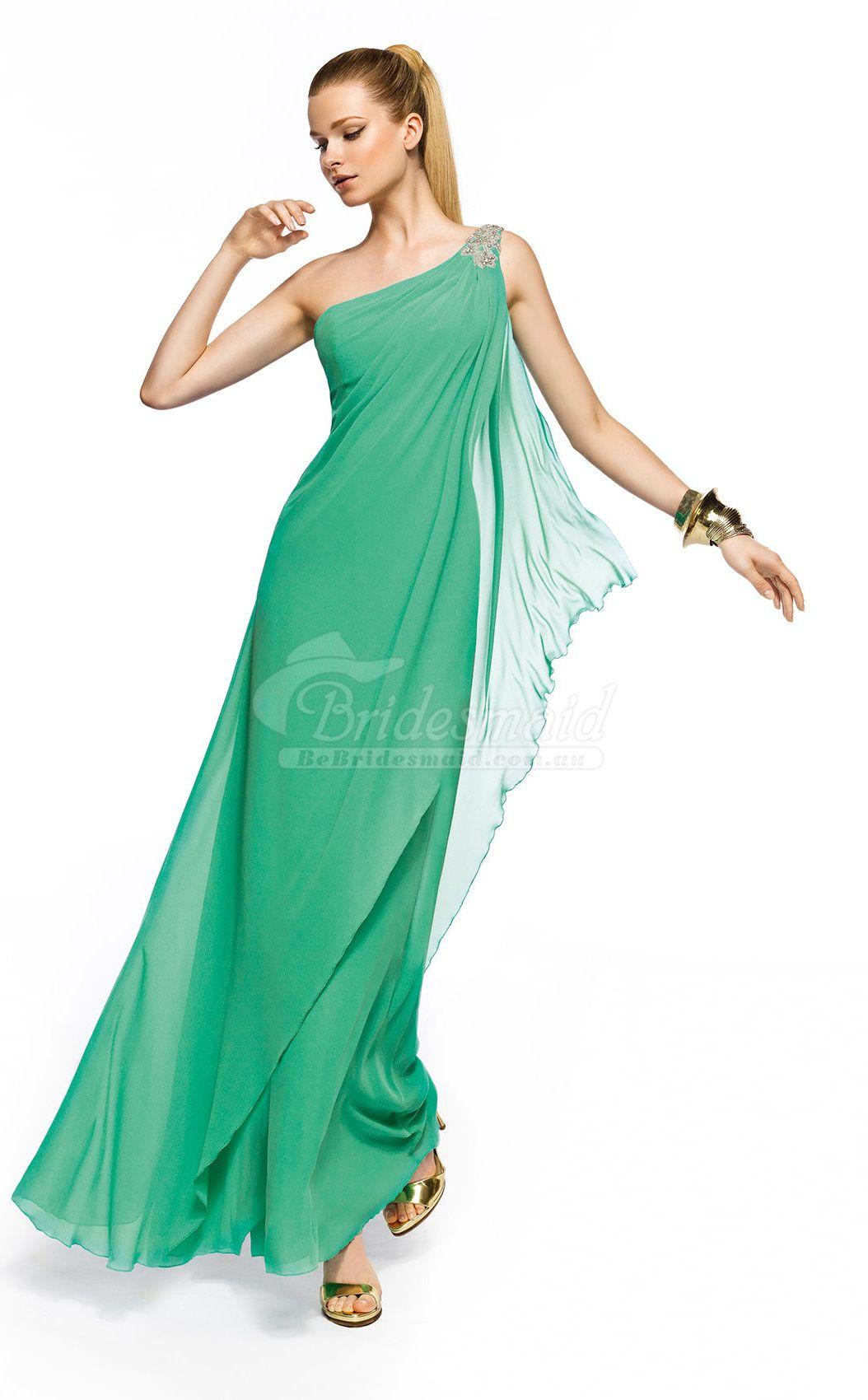 Modest green silk like chiffon one shoulder ankle dress long