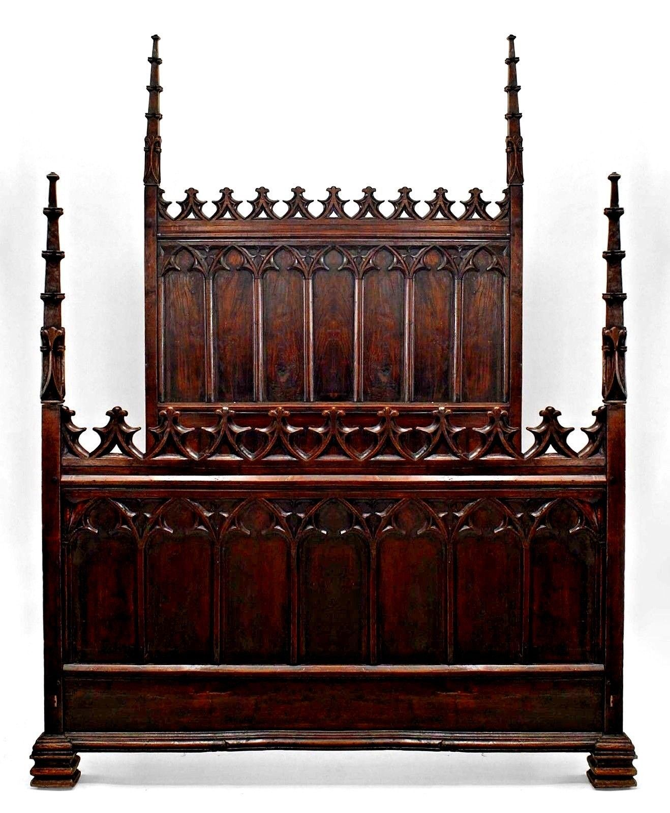 English Gothic Revival Style (19th Cent.) Walnut Full Size