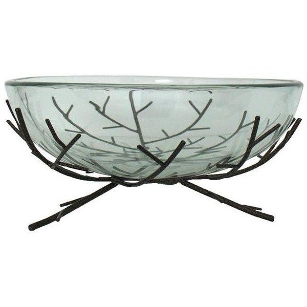 Glass Bowl On Metal Twig Stand 95 Liked On Polyvore Featuring Home