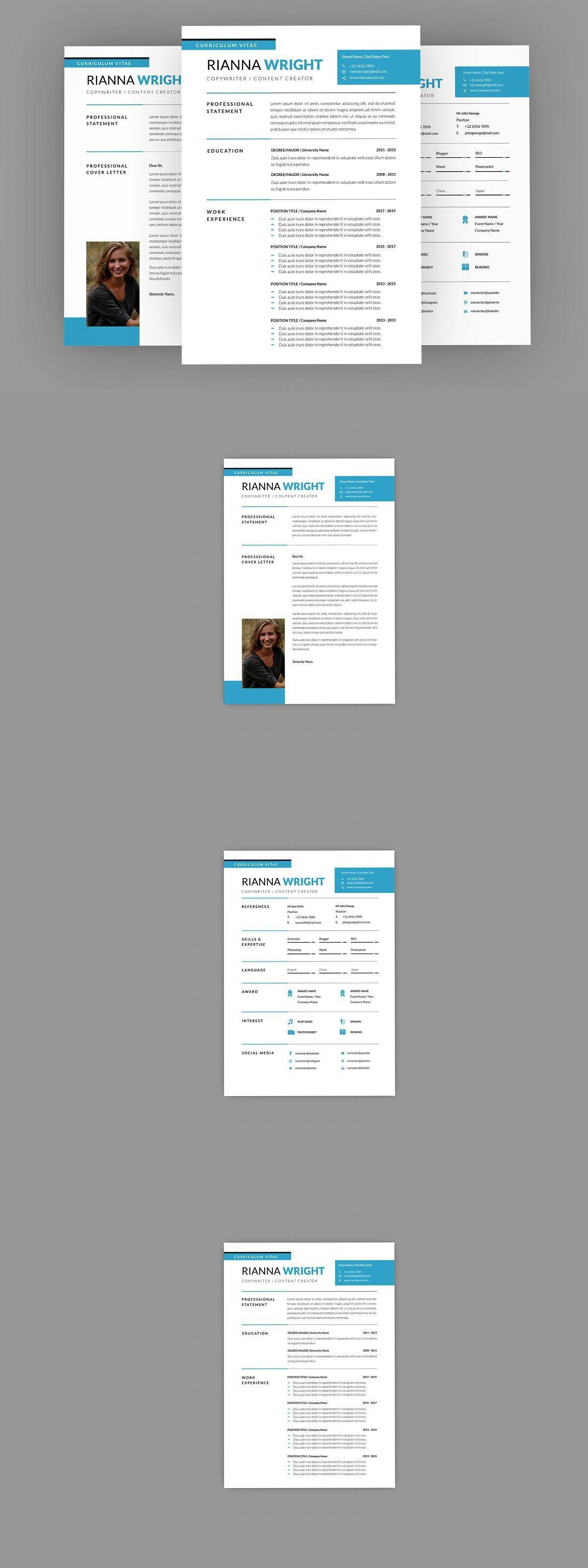 Riannna CopyWriter Resume Designer in 2020 Resume