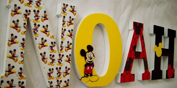 Mickey Mouse / Wood Letters/ Wall Letters / Nursery Decor / Boys ...