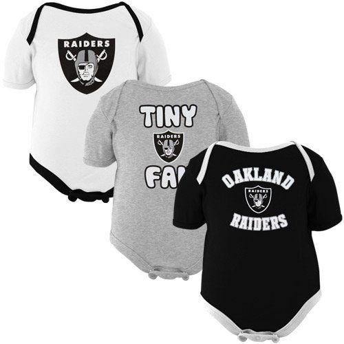 Amazon.com: Oakland Raiders Infant Tiny Fan 3-Pack Creeper Set: Clothing
