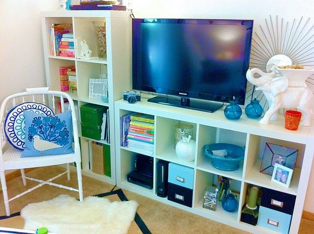 for play room 2 ikea expedit shelves as tv stand id es. Black Bedroom Furniture Sets. Home Design Ideas