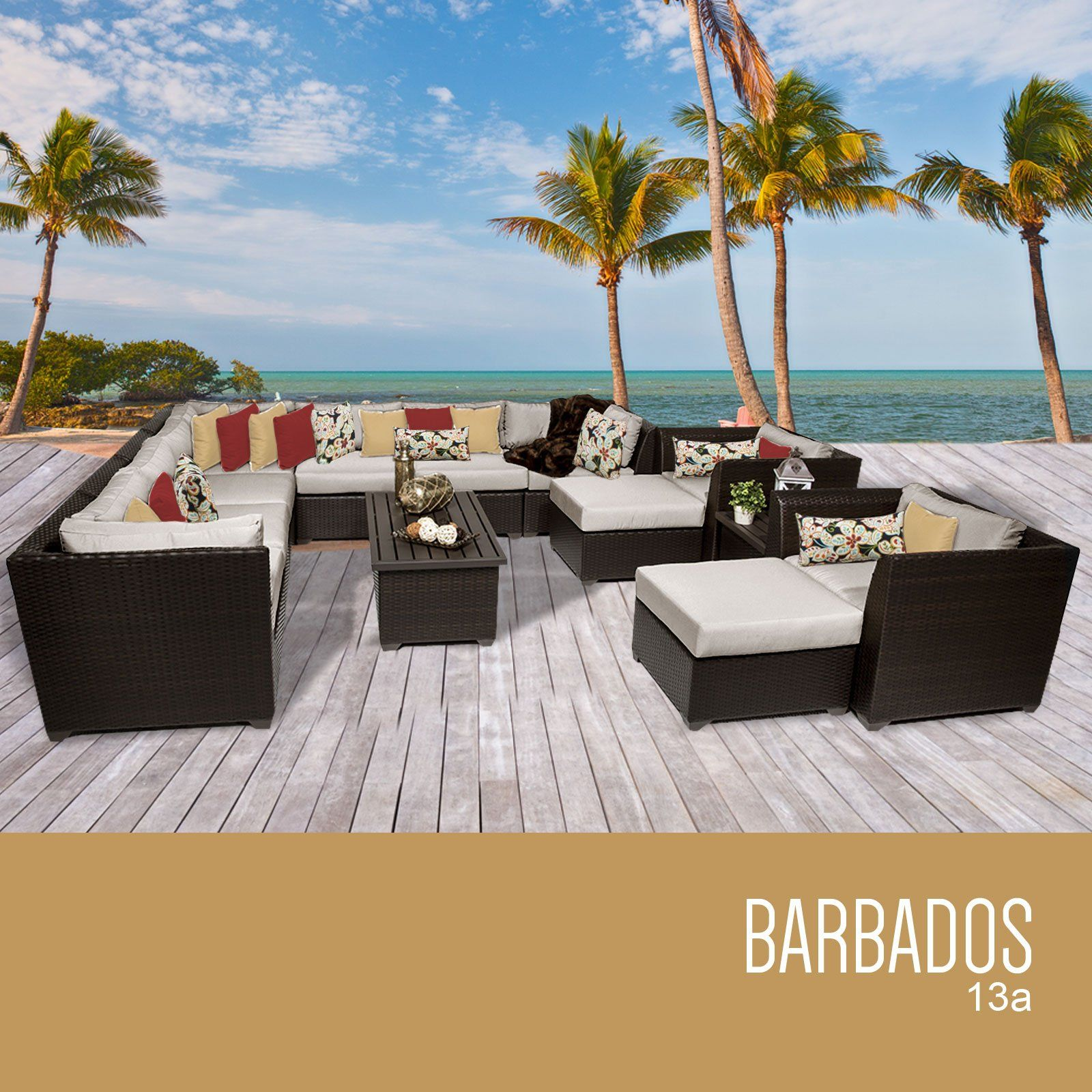Marvelous TK Classics 13 Piece Barbados Outdoor Wicker Patio Furniture Set, Beige.  Fabric Warranty