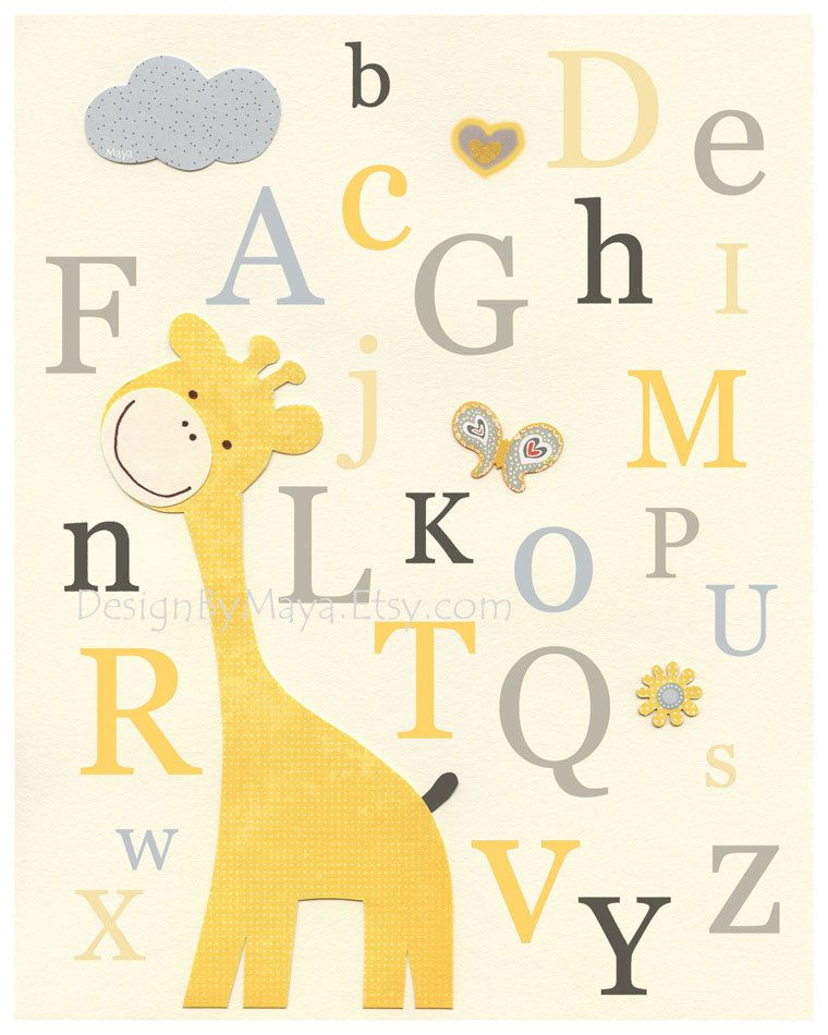 Nursery Art Decor, Kids Print, abc, baby owl nursery art, baby ...