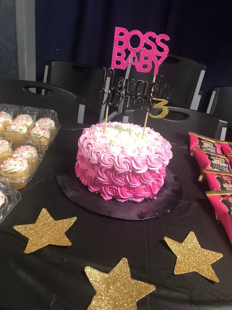 Boss baby cake topper in pink in 2020 boss baby baby