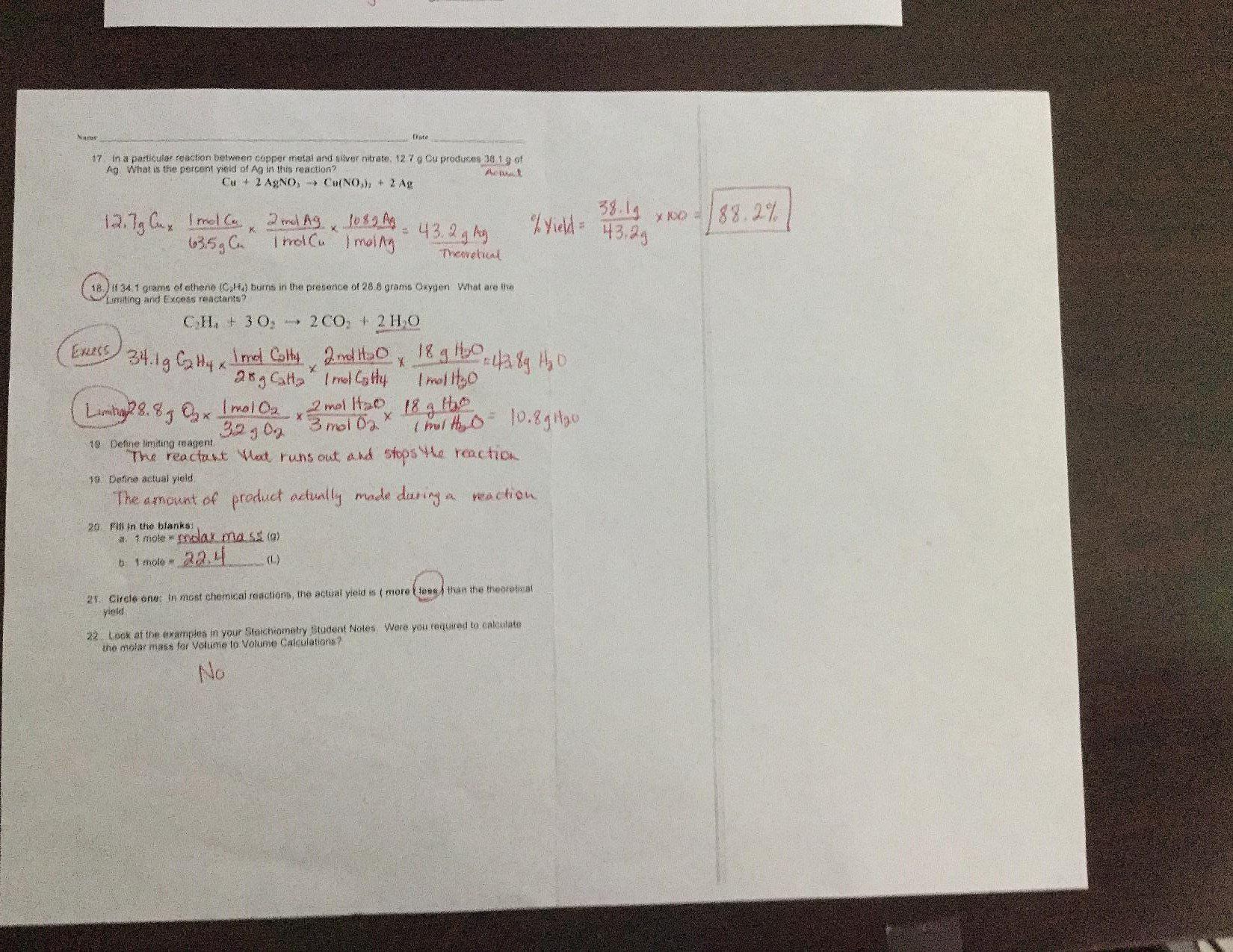 Chemistry Review Worksheet Answers Chemistry P Graves