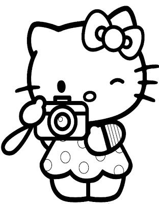 Free, printable Hello Kitty coloring pages, party invitations - new coloring pages with hello kitty