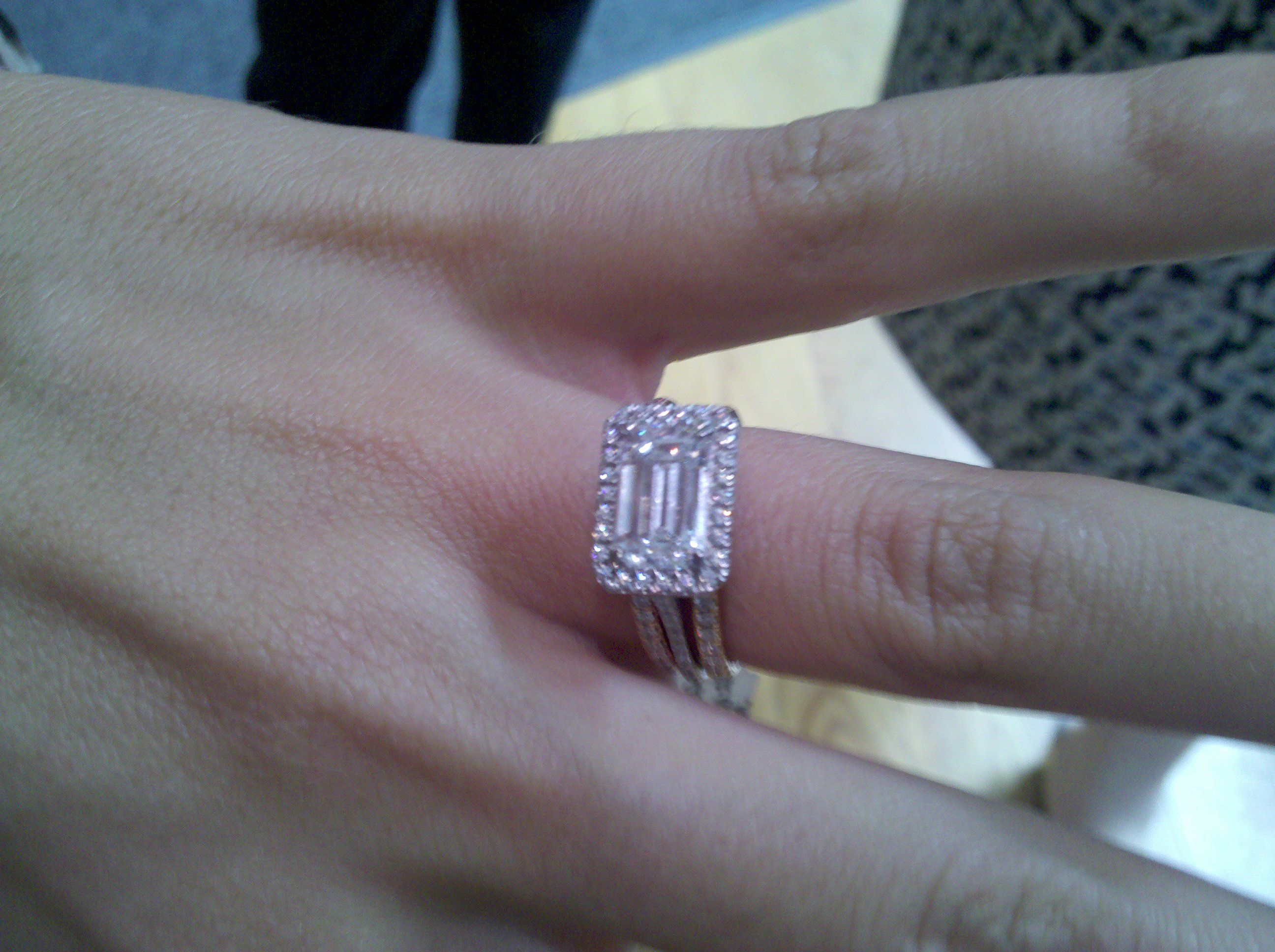 Horizontally Set Emerald Cut Diamond Engagement Ring With Pave Halo Shown 2 Eternity Bands