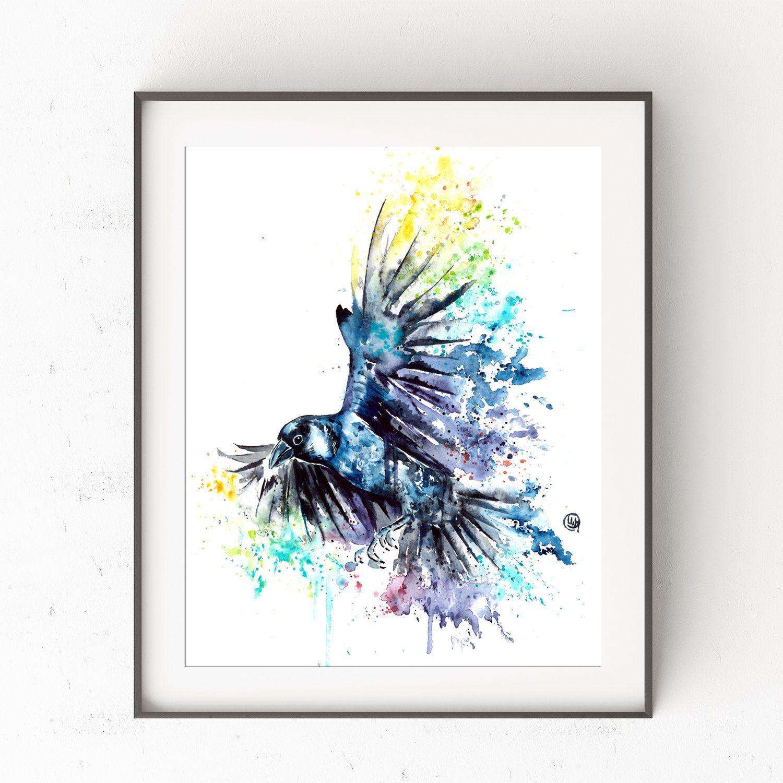 Watercolour Raven Raven Painting Crow Raven Art Print Raven