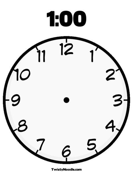 Blank Clock Coloring Page From TwistyNoodle