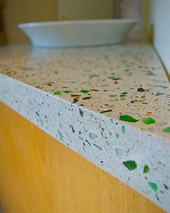 how to make concrete countertops with recycled glass