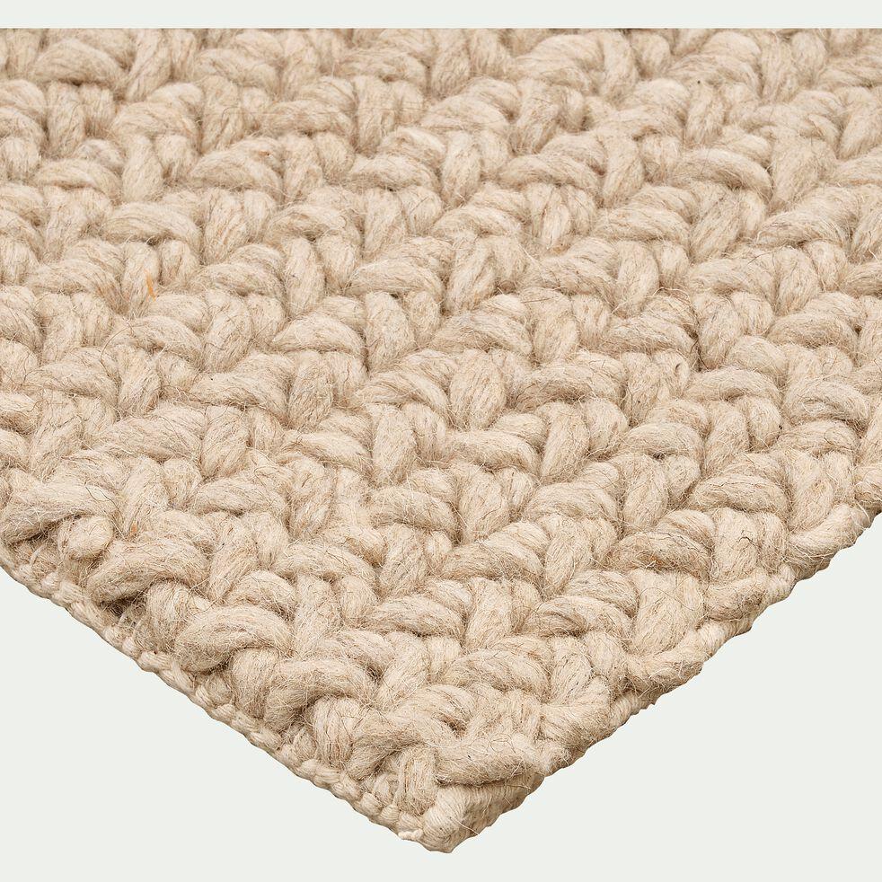 tapis en laine et coton beige 60x90cm