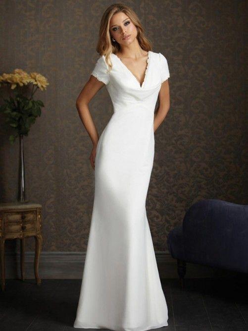 Sheath Wedding Dresses Elegant Short Sleeves Chiffon Satin V Neck Dress