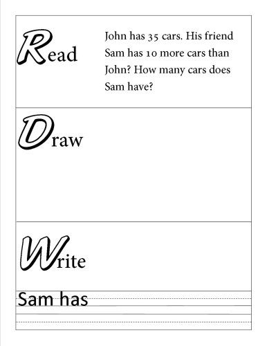Word problem solving template read, draw, write | worksheet.