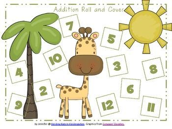 Subtraction Worksheets jungle subtraction worksheets : Zoo or Jungle Animal Roll & Cover Addition & Subtraction Games ...