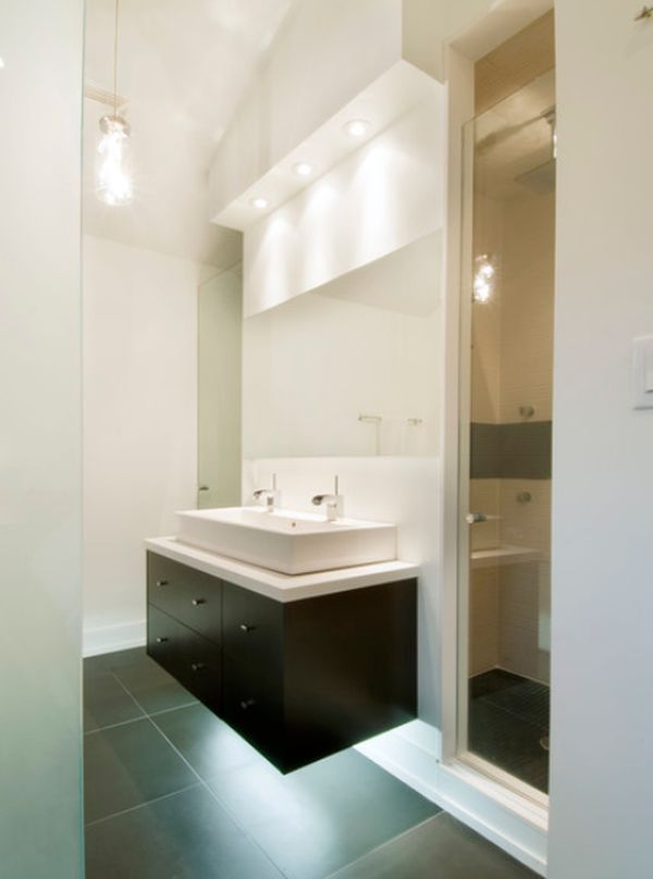 small sink vanity for small bathrooms%0A Like the light underneath the cabinet  contemporarysmallbathroom floatingsink