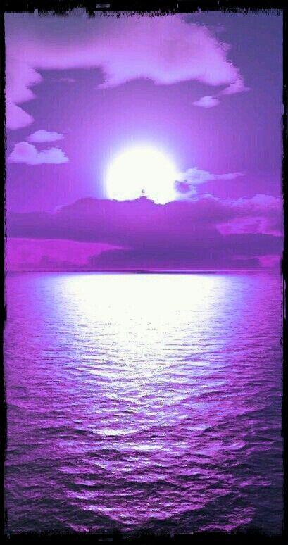 Purple Beautiful Nature Watercolor Landscape Ocean Inspiration