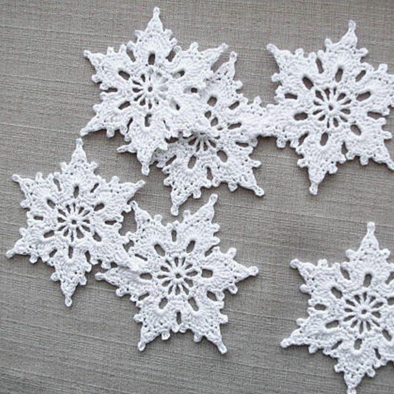 12 New Handmade Crochet Snowflakes White