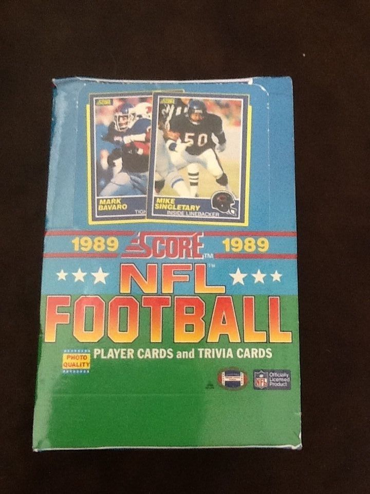 1989 score football wax box 36 packs bbce authenticated